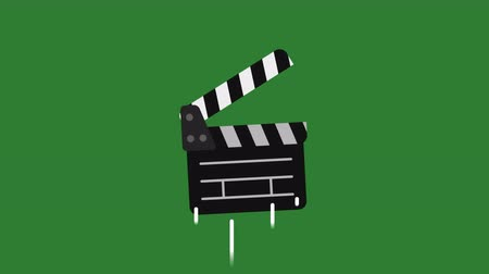 sinematografi : Transition Clapperboard Flies Up and Falls. Motion Graphics. Transparent Background.