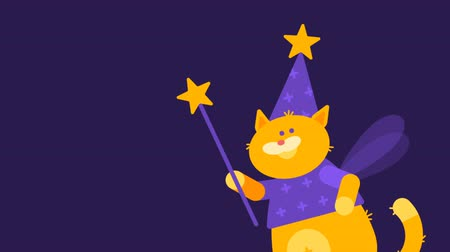 маг : Cat Magician Walking and Flying. Character Animation. Motion Graphics.