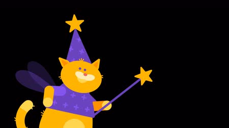 маг : Waving Magic Wand Cat Magician. Character Animation. Motion Graphics. Transparent Background.