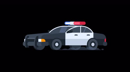 sheriff : Police Car Rides with Flashing Lights On. Transparent Background. Motion Graphics. Animation Video.