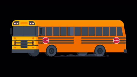 otobüs : School Bus Rides with Flashing Lights On. Transparent Background. Motion Graphics. Animation Video. Stok Video