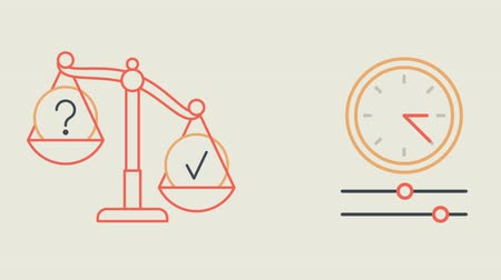 terazi burcu : Libra question mark check mark money and clock. Motion Graphics. Animation Video.