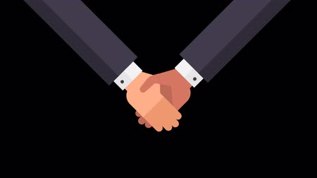 shaking hand : Handshake two businessmen. Three animation options. Alpha channel. Motion Graphics.