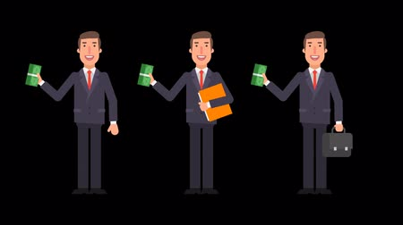ügyvéd : Businessman holding bundle money folder and suitcase. Alpha channel. Motion graphics. Animation video.