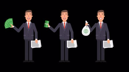 attorney : Businessman holding money and documents. Alpha channel. Motion graphics. Animation video.