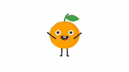 mascot : Orange funny character dances and smiles. Loop animation. Alpha channel. Stock Footage