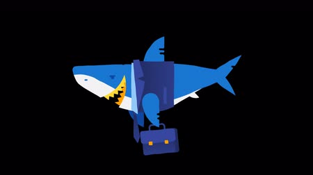 rekin : Character business shark. Loop animation. Alpha channel. Wideo