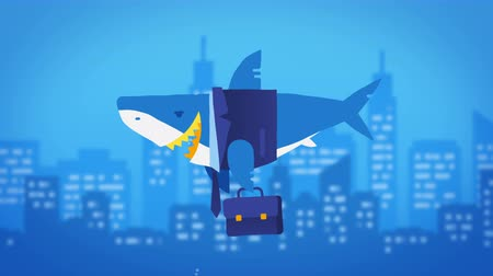 sharks : Business shark and large underwater city. Loop animation. Stock Footage
