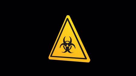 bio hazardous : Biohazard rotating triangular sign 3d. Warning sign. Alpha channel.