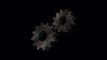 cogwheels : Rotating rusty metal gears 3d. Alpha channel.