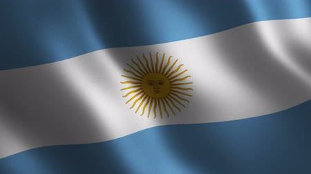 Argentina flag waving 3d. Abstract background. Loop animation. Motion graphics Stok Video