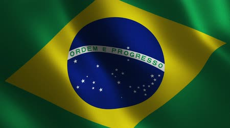 Brazil flag waving 3d. Abstract background. Loop animation. Motion graphics