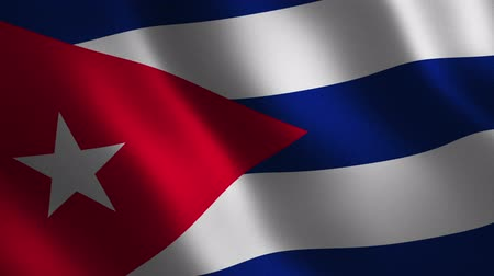 Cuba flag waving 3d. Abstract background. Loop animation. Motion graphics Stok Video