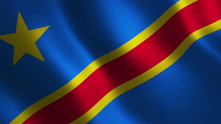 Democratic Republic of Congo flag waving 3d. Abstract background. Loop animation. Motion graphics