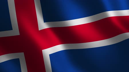 Iceland flag waving 3d. Abstract background. Loop animation. Motion graphics