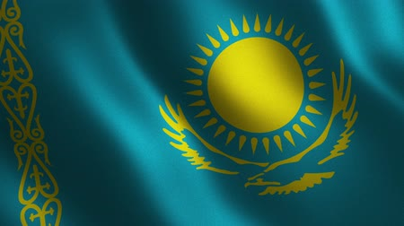 Kazakhstan flag waving 3d. Abstract background. Loop animation. Motion graphics Stok Video