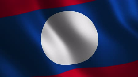 Laos flag waving 3d. Abstract background. Loop animation. Motion graphics Stok Video