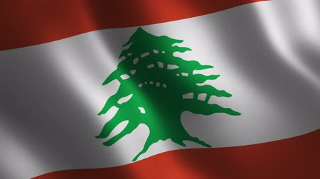 nişanlar : Lebanon flag waving 3d. Abstract background. Loop animation. Motion graphics