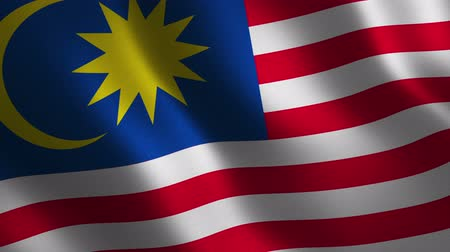 Malaysia flag waving 3d. Abstract background. Loop animation. Motion graphics