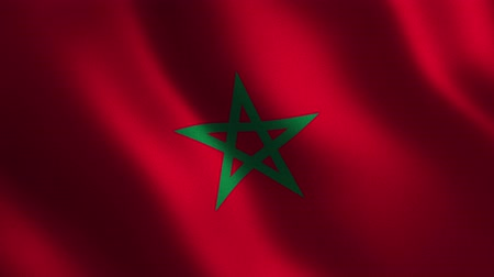 Morocco flag waving 3d. Abstract background. Loop animation. Motion graphics