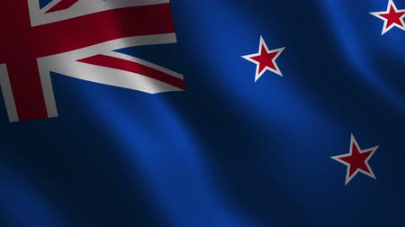 New Zealand flag waving 3d. Abstract background. Loop animation. Motion graphics