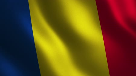 Romania flag waving 3d. Abstract background. Loop animation. Motion graphics