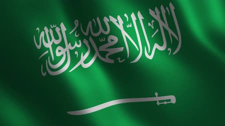 Saudi Arabia flag waving 3d. Abstract background. Loop animation. Motion graphics