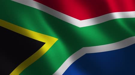 South African Republic flag waving 3d. Abstract background. Loop animation. Motion graphics Stok Video