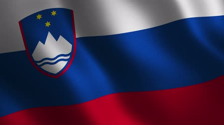 Slovene flag waving 3d. Abstract background. Loop animation. Motion graphics Stok Video