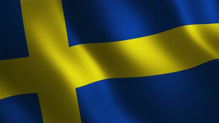 Sweden flag waving 3d. Abstract background. Loop animation. Motion graphics