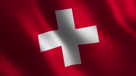 Switzerland flag waving 3d. Abstract background. Loop animation. Motion graphics