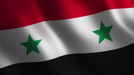 Syria flag waving 3d. Abstract background. Loop animation. Motion graphics Stok Video