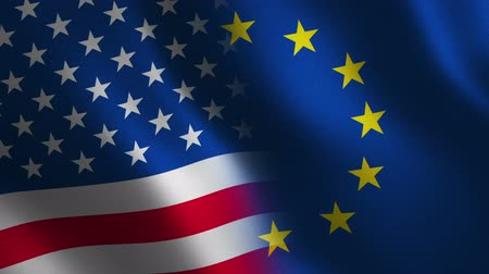 European Union and USA flag waving 3d. Abstract background. Loop animation.