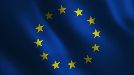 European Union flag waving 3d. Abstract background. Loop animation.