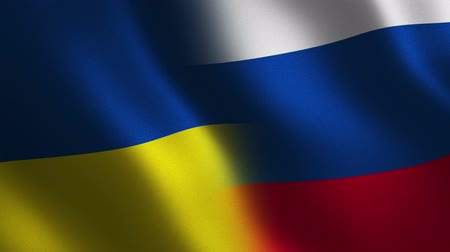 Ukraine vs. Russia flag waving 3d. Abstract background. Loop animation. Stok Video