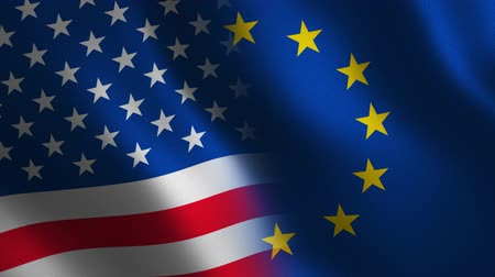 European Union and USA flag waving 3d. Transition. Alpha channel.
