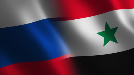 Russia and Syria flag waving 3d. Transition. Alpha channel.Russia and Syria flag waving 3d. Transition. Alpha channel. Stok Video