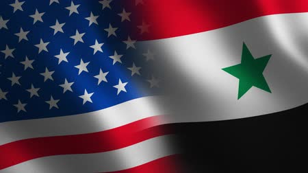 USA vs. Syria flag waving 3d. Transition. Alpha channel. Stok Video