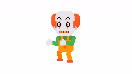 scary clown : Clown angry stalking his victim. Halloween character. Alpha channel. Loop animation. Motion graphics.