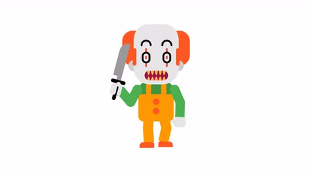 Clown angry stomping and clenching teeth. Halloween character. Alpha channel. Loop animation. Motion graphics. Stok Video