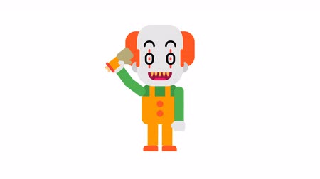 scary clown : Clown dancing and waves hand. Halloween character. Alpha channel. Loop animation. Motion graphics.