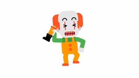 scary clown : Clown happy angry feet stomping and waving hand. Halloween character. Alpha channel. Loop animation. Motion graphics. Stock Footage