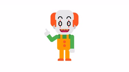 scary clown : Clown rejoices and points finger. Halloween character. Alpha channel. Loop animation. Motion graphics.