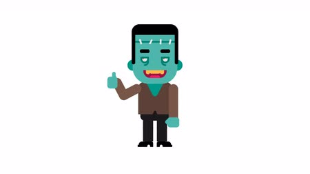 maniac : Monster rejoices and shows thumbs up. Halloween character. Alpha channel. Loop animation. Motion graphics. Stock Footage