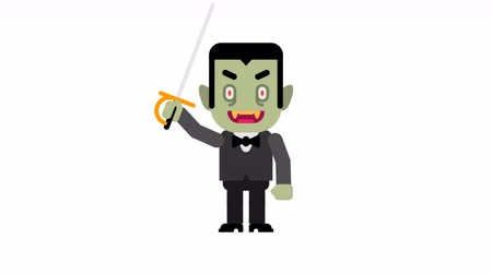 Vampire happy angry feet stomping and waving hand. Halloween character. Alpha channel. Loop animation. Motion graphics.