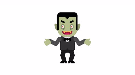 vampiro : Vampire rejoices raises his hands up. Halloween character. Alpha channel. Loop animation. Motion graphics.