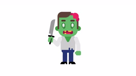 stomping : Zombie angry stomping and clenching teeth. Halloween character. Alpha channel. Loop animation. Motion graphics. Stock Footage