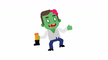 Zombie dancing and waves hand. Halloween character. Alpha channel. Loop animation. Motion graphics.