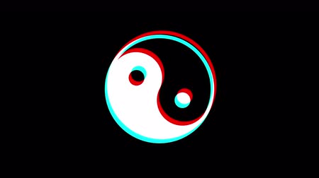 evrensel : Yin and Yang Glitch effect. Black background. Loop animation. Motion graphics Stok Video