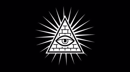 pyramida : All seeing eye. Sign Masons. Black background. Alpha channel. Motion graphics